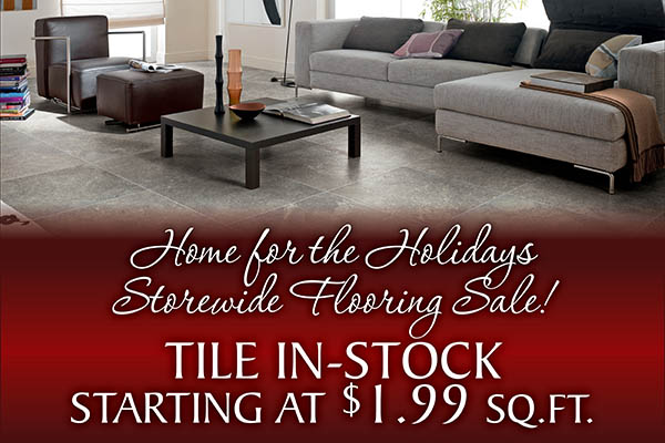 In-stock Tile starting at $1.99 sq.ft. during our Holiday Storewide Flooring Sale at Coulee Carpet Center in Lacrosse!